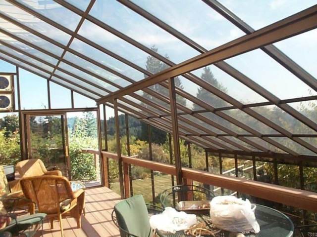 Interior view of a large two storey sunroom