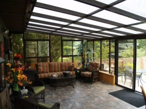 An interior view of a well-furnished sunroom