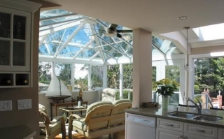 Interior view of a white Edwardian-style conservatory