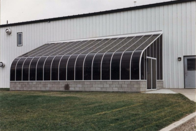 Exterior view of a large commercial sunroom