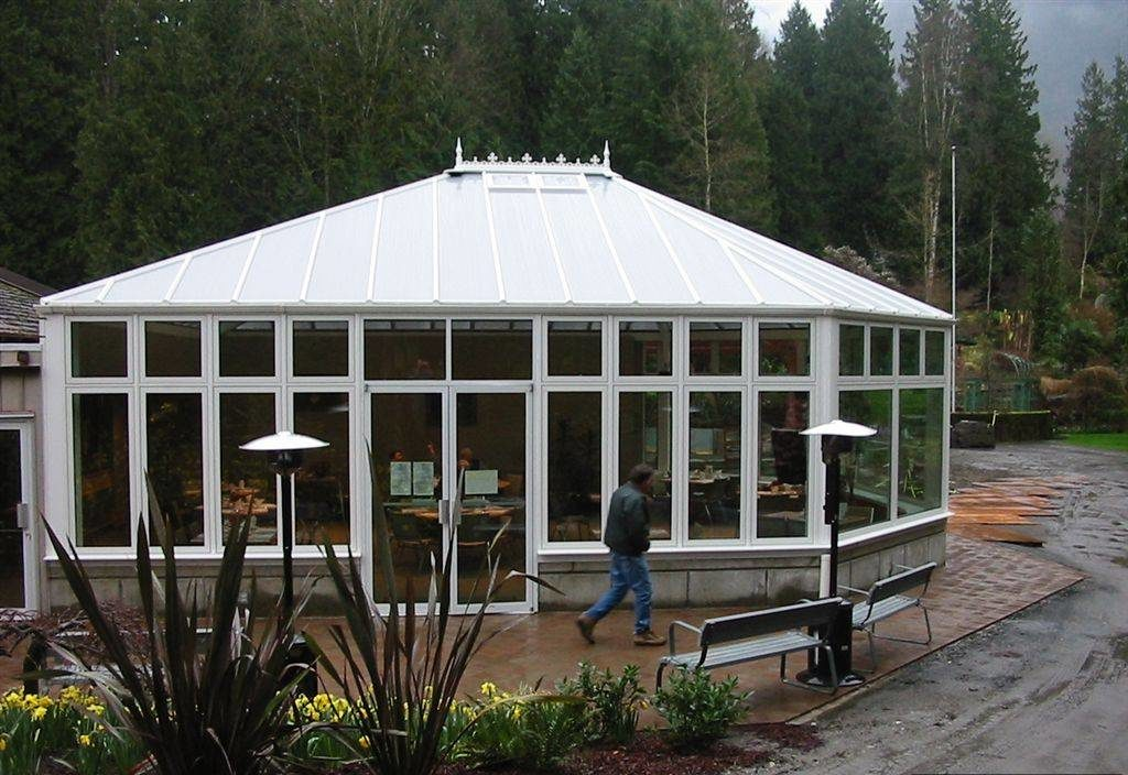 Exterior view of a Victorian-style conservatory for a restaurant