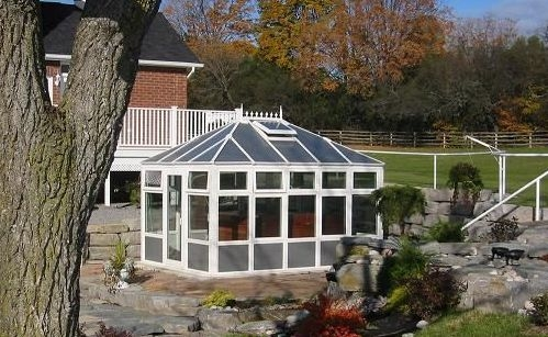 Exterior view of a free-standing garden conservatory