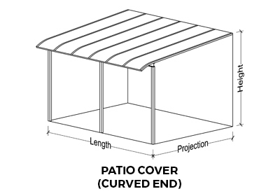 Drawing of a curved end patio cover showing which measurements are length, projection and height