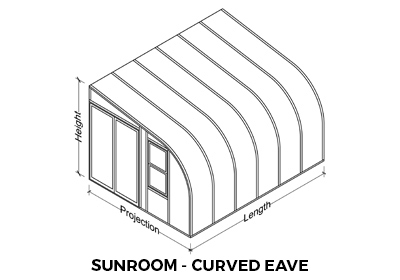 A drawing of a curved eave sunroom showing which measurements are length, projection and height