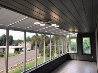 Looking out from inside a Sunview Solariums deck enclosure